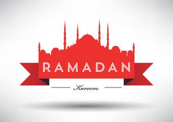 Typographic Ramadan Design with Vector Mosque