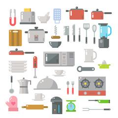 Flat design of kitchen items set