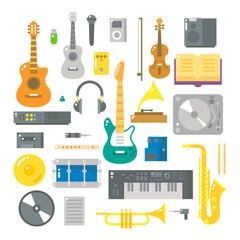 Flat design of music instruments set