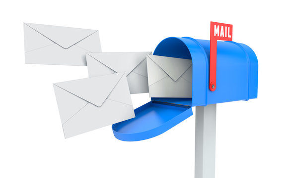 Incoming mail. blue mailbox with letters isolated