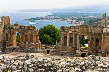Panorama of Taromina bay from greek theater in Taormina, Sicily