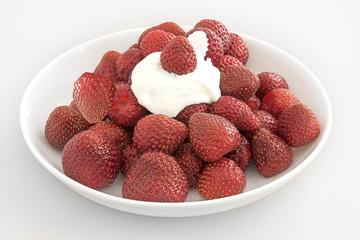 fraises bio avec crème sur assiette