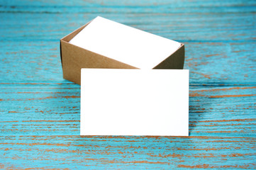 Blank business cards with paper box