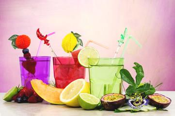 fruits cocktails over pink background