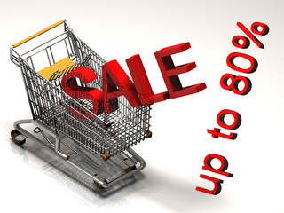 Shopping cart and red eighty percent discount, isolated on white backgroun