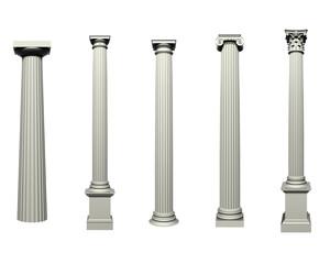 Set of Doric, Ionic and Corinthian Columns