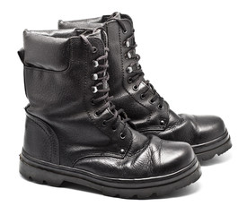 Black Leather Army Boots