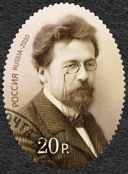 RUSSIA - CIRCA 2010: A stamp printed in Russia dedicated the 150th anniversary of birth of Anton Chekhov (1860-1904), writer, circa 2010