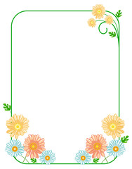 Green elegant frame with daisies