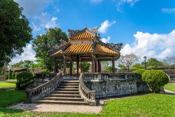 Antique pavilion in garden of Citadel in Hue. Vietnam.