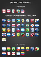 Set of glossy button flags -  North AND South America, Caribbean Islands, countries, Central America Islands.