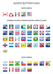 Set of glossy button flags -  North AND South America, Caribbean Islands, countries, Central America Islands.. Vector EPS10 illustration.