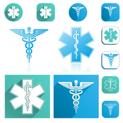 Caduceus and Esculapius Staff Icons Set