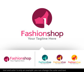 Fashion Shop Store Logo Design Template - Vector