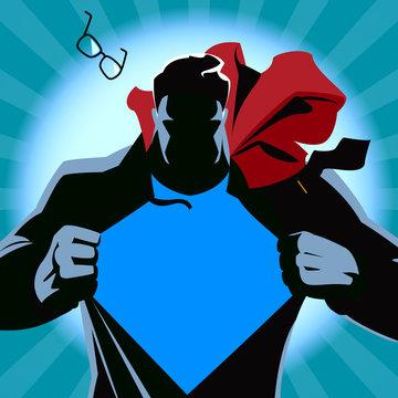 Superman tearing his shirt. Vector illustration. Silhouette