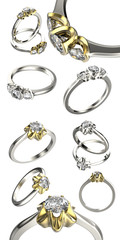 Big collection with diamond Rings.. Jewelry background
