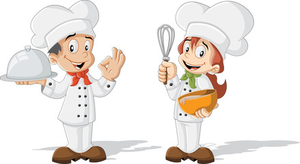 Cute cartoon children chefs cooking