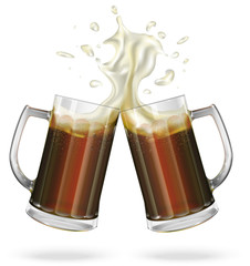 Two mugs with ale, dark beer. Mug with beer. Vector