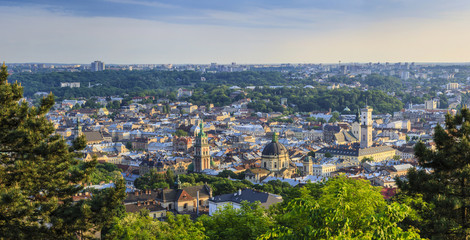 View of the city of Lviv from the High Castle Park at sunset