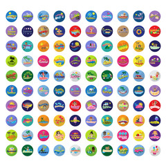 Summer Flat Icons And Backgrounds Set: Vector Illustration,Graphic Design.Collection Of Colorful Icons. For Web, Websites,Print,Presentation Templates,Mobile Applications And Promotional Materials
