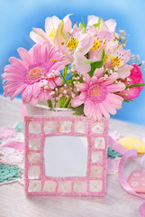 bunch of beautiful pink flowers and frame for photo or text