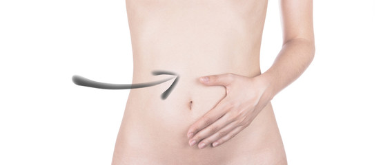 Pancia di donna indicata con freccia