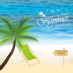 Summer background with palm tree, ocean, beach and lounger