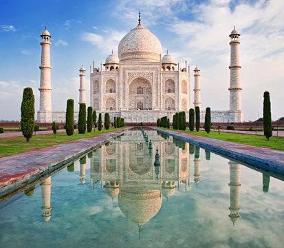 Taj Mahal in sunrise light.