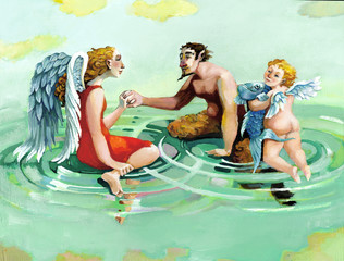 family group with faun angel and cherub mythological allegorical painting