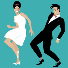 Wall Mural - Young couple dressed in early 1960s fashion dancing rock and roll