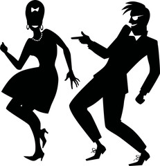 Wall Mural - Silhouette of a couple dressed in early 1960s fashion dancing rock and roll