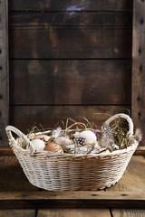 Easter background, basket on the boards