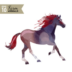 Farm animals. Watercolor vector illustration of horse