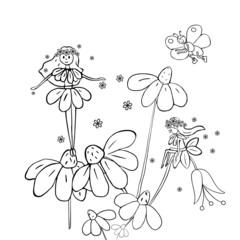 Flower fairies on marguerites. Black and white illustration.