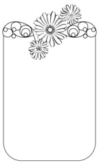Beautiful frame with contour flowers