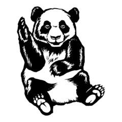 panda greeting raised paw