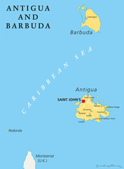 Antigua and Barbuda Political Map with capital Saint Johns and important places. English labeling and scaling. Illustration.