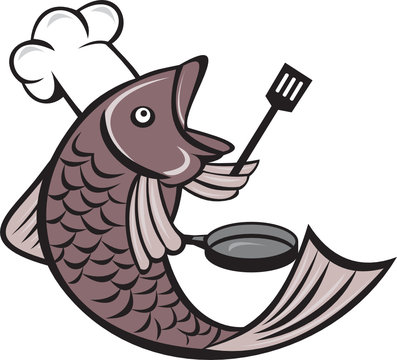 Fish Chef Cook Holding Spatula Frying Pan Cartoon