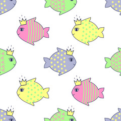 Seamless pattern with smiling fish for kids holidays. Cute baby shower vector background. Child drawing style.