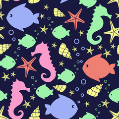 Seamless pattern with sea creatures doodles: starfish, fish, seahorse, shell. Cute nautical backgrounds. Marine life Background Collection. Baby shower vector illustration.