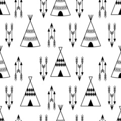Seamless kids wigwam illustration with arrows. Cute indian background pattern in vector