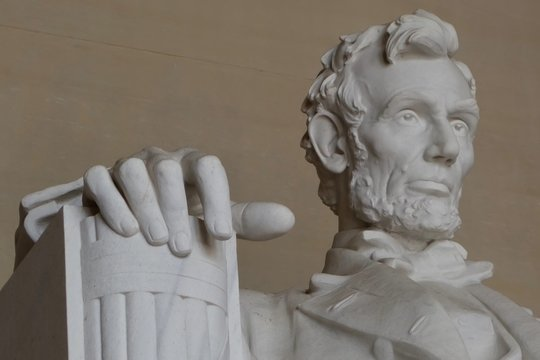 close up of Abraham Lincoln at the Lincoln memorial in Washington DC