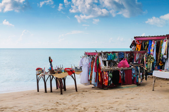 Booth on the beach with clothes