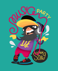 vector music party character design.