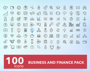 Set of 100 quality icon business and finance pack.