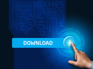 Download.Businessman presses a button on the virtual screen. Bus