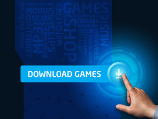 Download games.Businessman presses a button on the virtual scree
