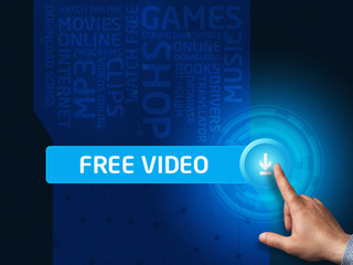 Free video.Businessman presses a button on the virtual screen. B