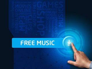 Free music. Businessman presses a button on the virtual screen.