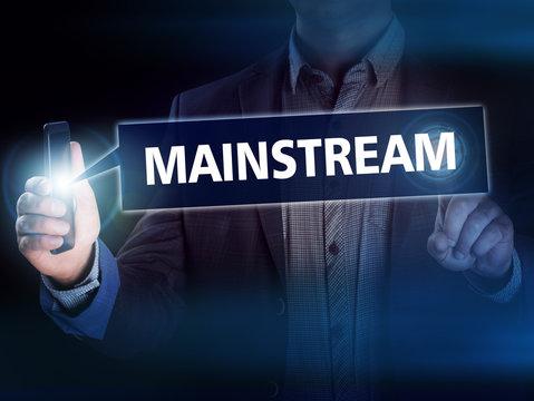 Businessman presses button mainstream on virtual screens. Busine